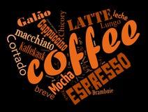 Colagem da nuvem da palavra do café Imagem de Stock