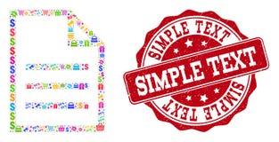Colagem da página do texto do mosaico e selo riscado para vendas ilustração stock