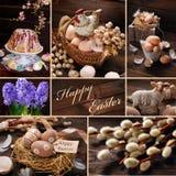 Colagem da Páscoa com a decoração rústica no fundo de madeira Fotografia de Stock Royalty Free