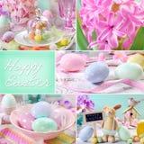 Colagem da Páscoa nas cores pastel Imagens de Stock