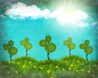 Colagem da paisagem da natureza de Grunge com árvores Fotografia de Stock Royalty Free