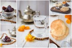 Colagem da ramadã Grupo de imagens de frutos e da água secados para iftar - datas e pão Fotos de Stock Royalty Free