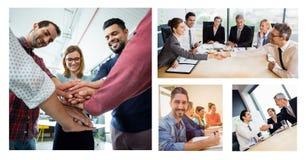 Colagem da reunião de negócios dos trabalhos de equipa fotos de stock royalty free