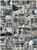 Colagem da sala do servidor com técnico Foto de Stock Royalty Free