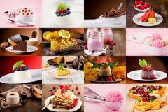 Colagem da sobremesa imagens de stock royalty free