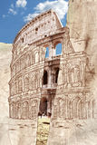 Colagem da tração da mão de Colosseum Imagens de Stock