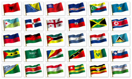 Colagem das bandeiras dos países diferentes Imagens de Stock Royalty Free