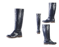 Colagem das botas de couro em um fundo branco, as sapatas de couro italianas da mola das sapatas das mulheres Fotografia de Stock Royalty Free