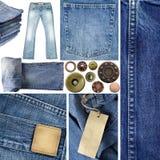 Colagem das calças de brim imagem de stock