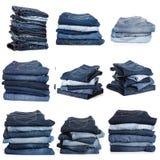 Colagem das calças de brim isoladas no branco fotos de stock royalty free