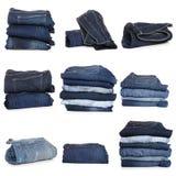 Colagem das calças de brim isoladas no branco imagem de stock royalty free