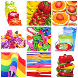 Colagem das coisas de cores diferentes imagem de stock
