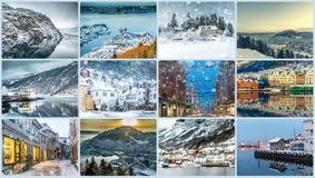 Colagem das fotos de Bergen Imagens de Stock