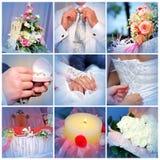 Colagem das fotos do casamento. Nove em um Imagens de Stock Royalty Free