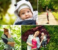 Colagem das fotos mãe e bebê na natureza no parque Fotos de Stock Royalty Free