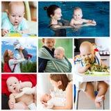 Colagem das fotos mãe e do bebê - rotina diária Fotografia de Stock Royalty Free