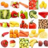 Colagem das frutas e legumes Imagens de Stock