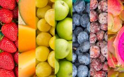Colagem das frutas e legumes do arco-íris Imagens de Stock