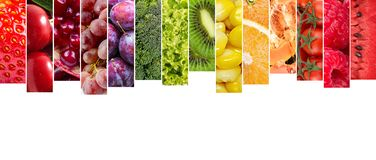 Colagem das frutas e verdura Fotos de Stock