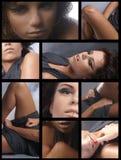 Colagem das imagens com um brunette novo imagem de stock
