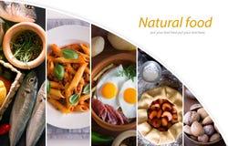 Colagem das imagens diferentes do alimento saboroso Imagens de Stock Royalty Free