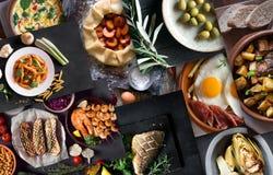 Colagem das imagens diferentes do alimento saboroso Imagem de Stock Royalty Free