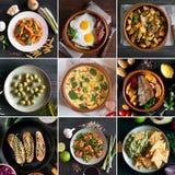 Colagem das imagens diferentes do alimento saboroso Imagens de Stock