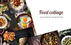 Colagem das imagens diferentes do alimento saboroso copie o espaço para seu texto Foto de Stock