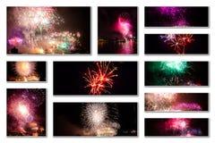 Colagem das imagens dos fogos-de-artifício Fotografia de Stock