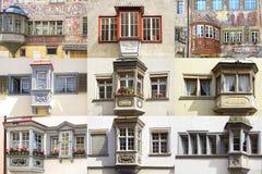 Colagem das janelas originais antigas fotos de stock royalty free