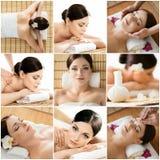 Colagem das jovens mulheres que relaxam em uma massagem Imagens de Stock