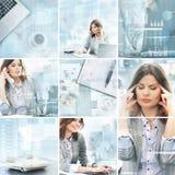 Colagem das jovens mulheres que trabalham em um escritório Imagens de Stock Royalty Free