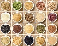 Colagem das leguminosa e dos cereais Imagens de Stock Royalty Free