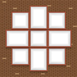 Colagem das molduras para retrato na parede de tijolo Fotos de Stock