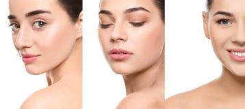 Colagem das mulheres com caras bonitas fotografia de stock royalty free