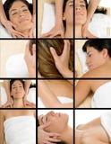Colagem das mulheres que começ a massagem Imagem de Stock Royalty Free