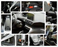 Colagem das peças diferentes de um carro diesel do turbocompressor fotos de stock royalty free