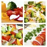 Colagem das saladas Fotografia de Stock Royalty Free