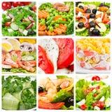 Colagem das saladas imagem de stock royalty free