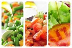 Colagem das saladas Imagens de Stock