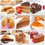 Colagem das sobremesas Fotos de Stock Royalty Free