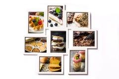 Colagem das sobremesas no fundo branco foto de stock