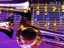 Colagem das trombetas e da música Imagem de Stock Royalty Free