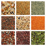 Colagem de amostras coloridas da areia fotos de stock