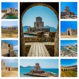 Colagem de Bourtzi em Methoni, Messenia, Grécia Imagens de Stock Royalty Free