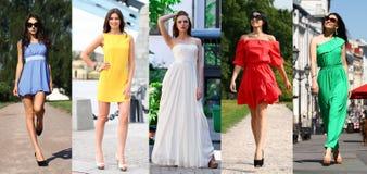 A colagem de cinco modelos bonitos no verão colorido veste-se Imagens de Stock