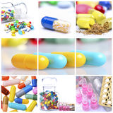 Colagem de comprimidos coloridos Fotografia de Stock Royalty Free