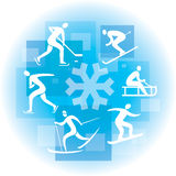 Colagem de ícones do esporte de inverno Foto de Stock