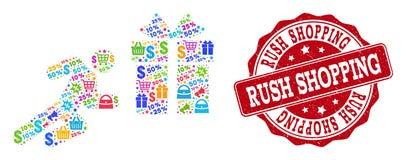 Colagem de corrida de compra do homem do mosaico e selo do Grunge para vendas ilustração stock