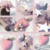 Colagem de decorações da tabela do Natal Fotografia de Stock Royalty Free